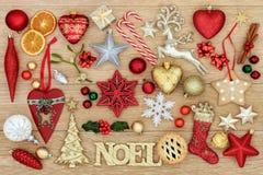 Noel Sign och julsymboler Royaltyfria Bilder