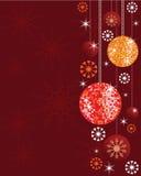 Noel tło z błyszczącymi dyskotek piłkami, ornamentami i. Fotografia Royalty Free