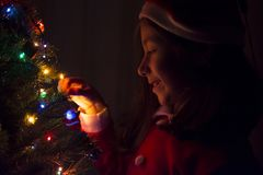 Noel tree and a girl shot in the night. Noel tree shot in the night Stock Photos