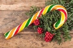 Noeldecoratie en suikergoed Stock Foto