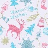 Noelkaart met deers en Kerstmisdecoratie. Stock Afbeeldingen