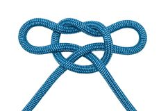 Noeud décoratif de corde bleue Image libre de droits