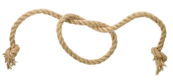 Noeud de corde d'isolement sur le fond blanc Photographie stock libre de droits