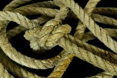 Noeud de corde de mer sur le noir Photographie stock