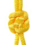 Noeud de dentelle en soie jaune. Images libres de droits