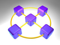 noeud de réseau 3D Images libres de droits