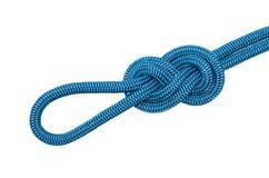 Noeud huit de corde bleue Photo libre de droits