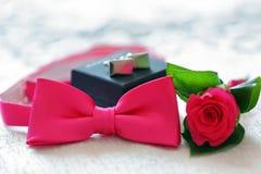 Noeud papillon, boutons de manchette et groom& x27 ; boutonnière de fleur de s prête à porter Photos libres de droits