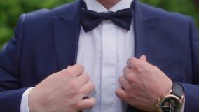 Noeud papillon d'homme sur un costume banque de vidéos
