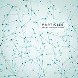 Noeud, points et lignes Fond graphique géométrique de particules abstraites Structure de atome, molécule et communication illustration stock