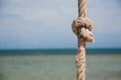 Noeud sur la corde et la mer Photo stock