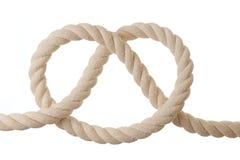 Noeud sur une corde d'isolement sur le blanc Photo stock