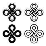 Noeuds blancs noirs celtiques sans fin Photos stock