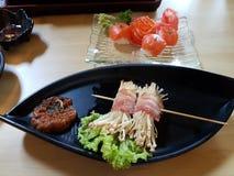 Nog beeld van gezonde Japanse schotels op lijst Royalty-vrije Stock Foto
