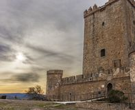 Nogales Castle, Badajoz, Spain. 15th Century defensive fortress. South side royalty free stock image