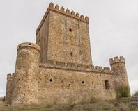 Nogales Castle, Badajoz, Spain. 15th Century defensive fortress. West side royalty free stock images