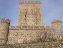 Nogales Castle, Badajoz, Spain. 15th Century defensive fortress. West side stock image