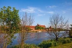 Nogat River and Malbork Castle in Poland Royalty Free Stock Image