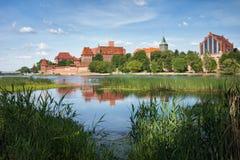 Nogat River and Malbork Castle Stock Photos