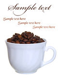 Noggin coffee with beans Royalty Free Stock Images