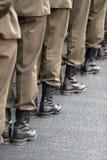 Nogi żołnierza zamknięty up Zdjęcia Royalty Free