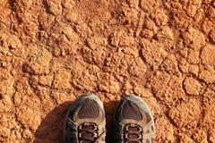 Nogi mężczyzna w sneakers sucha zanieczyszczająca czerwona kamienista ziemia zdjęcie royalty free