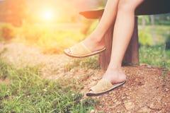 Nogi piękny kobiety obsiadanie na ławce wśród kwiatów i Obraz Royalty Free