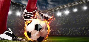 Nogi piłka nożna lub gracz futbolu Zdjęcia Stock