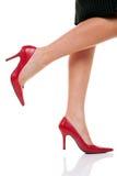 nogi tęsk czerwoni buty Zdjęcia Royalty Free