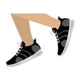 nogi z czarną sprawności fizycznych sneakers projekta ikoną ilustracja wektor