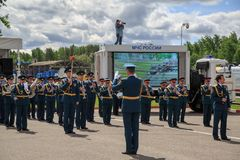 Military orchestra during the parade of rescue equipment. royalty free stock photos
