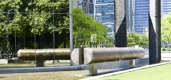 Noguchi Fountain. This is a Summer picture of the iconic Noguchi Fountain and its reflection at the Art Institute located in Chicago, Illinois in Cook County Royalty Free Stock Photos
