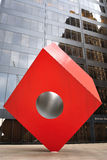 Noguchi's Red Cube. Isamu Noguchi's Cube at the HSBC Building in the Financial District of New York City.  April 11, 2010 Stock Image
