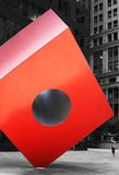 Noguchi's red cube. Lower Manhattan, New York City Stock Image
