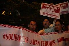 Noi campagna non impaurita dopo lo scoppio di Jakarta Immagini Stock Libere da Diritti