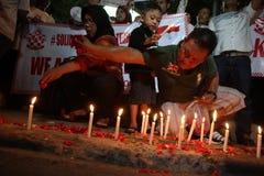 Noi campagna non impaurita dopo lo scoppio di Jakarta Immagine Stock