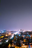 Noida cityscape at night with houses, skyscrapers and streets Stock Photo