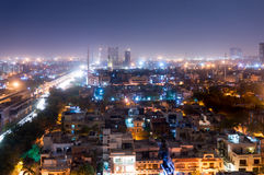 Noida cityscape at night with houses, skyscrapers and streets Royalty Free Stock Images
