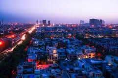 Noida cityscape på natten Royaltyfri Fotografi