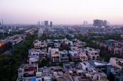 Noida cityscape på natten Fotografering för Bildbyråer