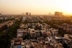 Noida cityscape på skymning Fotografering för Bildbyråer