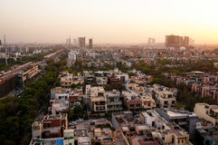 Noida-Stadtbild an der Dämmerung Stockfotos