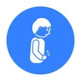 Noir abdominal d'icône de douleur Choisissez l'icône en difficulté de la grande défectuosité, noir de la maladie Illustration Stock