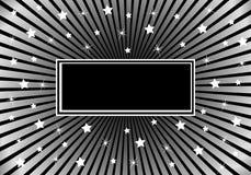 Noir abstrait de fond et étoiles blanches argentées Image libre de droits