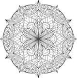 Noir abstrait de vecteur rond, conception hexagonale de dentelle dans la ligne mono Images stock