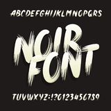 Noir alphabet font. Uppercase brushstroke letters and numbers. Stock vector typography stock illustration