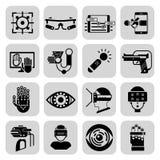 Noir augmenté virtuel d'icônes de réalité Photographie stock libre de droits