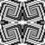 Noir, blanc et Grey Spirals sans couture des rectangles augmentant du centre Illusion optique de perspective Image stock