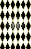 Noir/blanc/fond harliquin d'or Images libres de droits