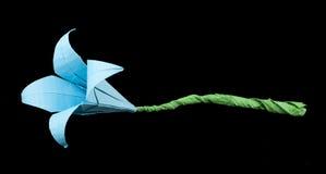 Noir bleu d'origami de fleur d'isolement. Photographie stock libre de droits